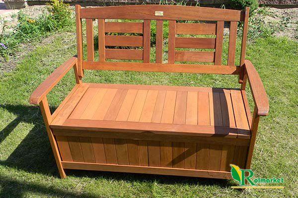 Meble Ogrodowe Z Siatki Metalowej : Ławka ogrodowa drewniana (z drewna egzotycznego) ze skrzynią Villa