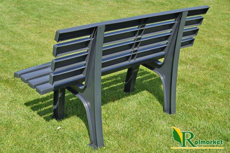 Meble Ogrodowe Z Siatki Metalowej : ławka ogrodowa z oparciem Perła 120cm  grafitowa  Meble ogrodowe